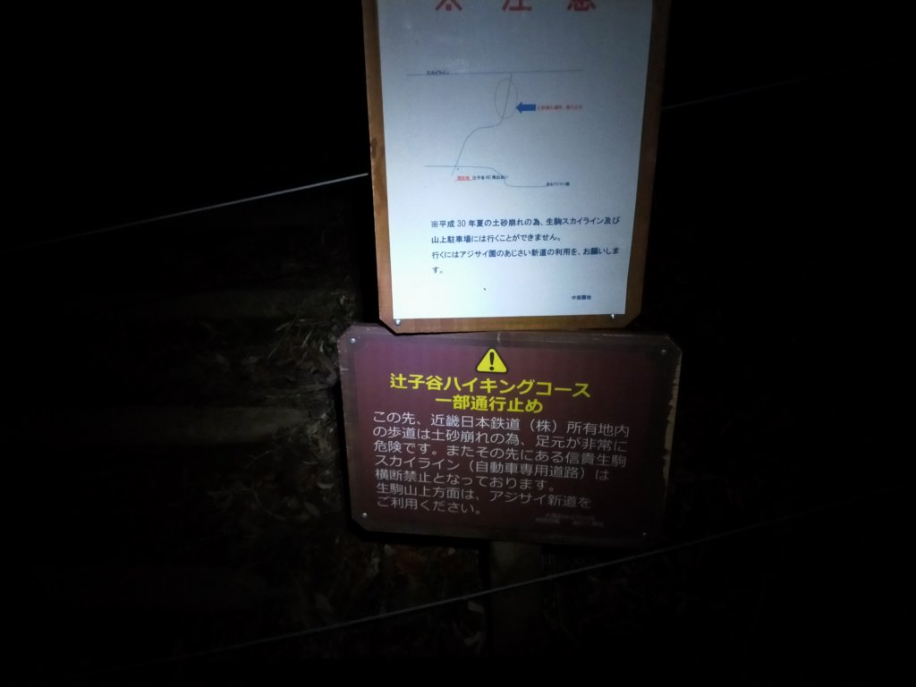 辻子谷コース通行止め